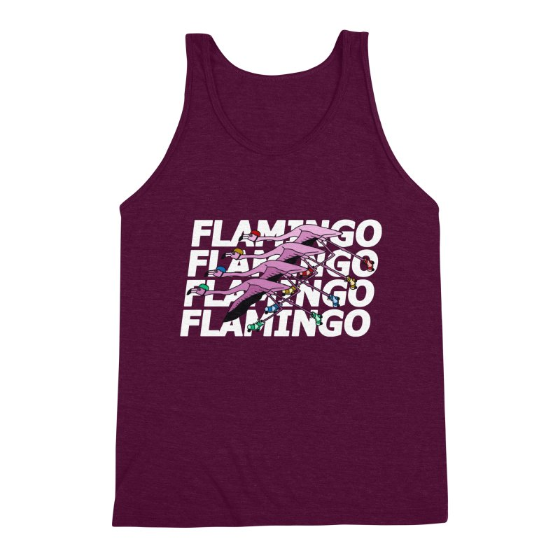 Flamingos - White Letters Men's Triblend Tank by sand paper octopi's Artist Shop