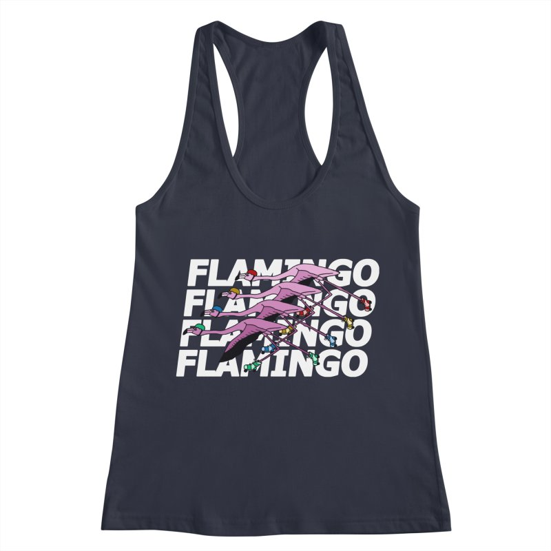 Flamingos - White Letters Women's Racerback Tank by sand paper octopi's Artist Shop