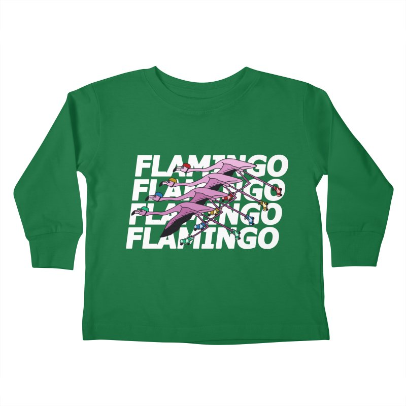 Flamingos - White Letters Kids Toddler Longsleeve T-Shirt by sand paper octopi's Artist Shop