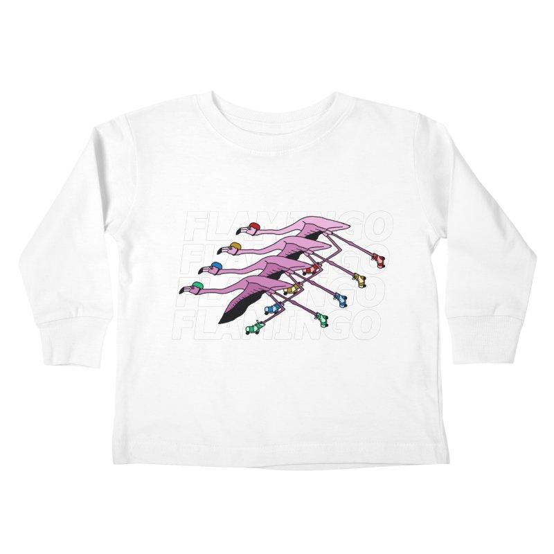 Flamingos - White Letters Kids Toddler Longsleeve T-Shirt by sand paper octopi's Artist Shop