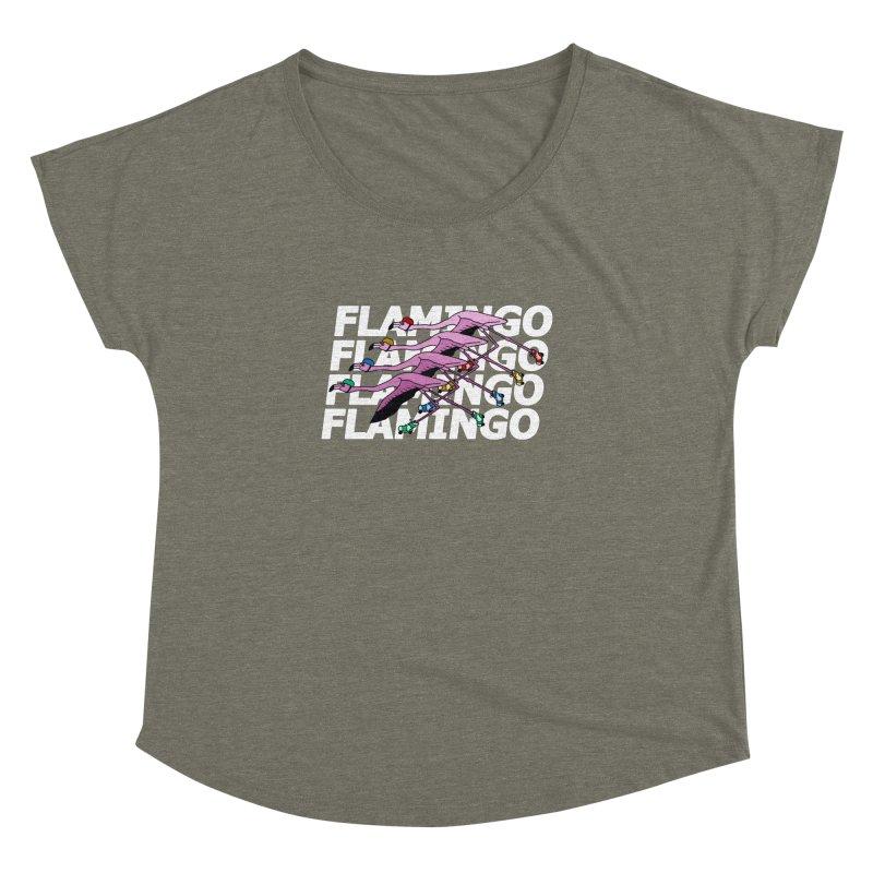 Flamingos - White Letters Women's Dolman Scoop Neck by sand paper octopi's Artist Shop