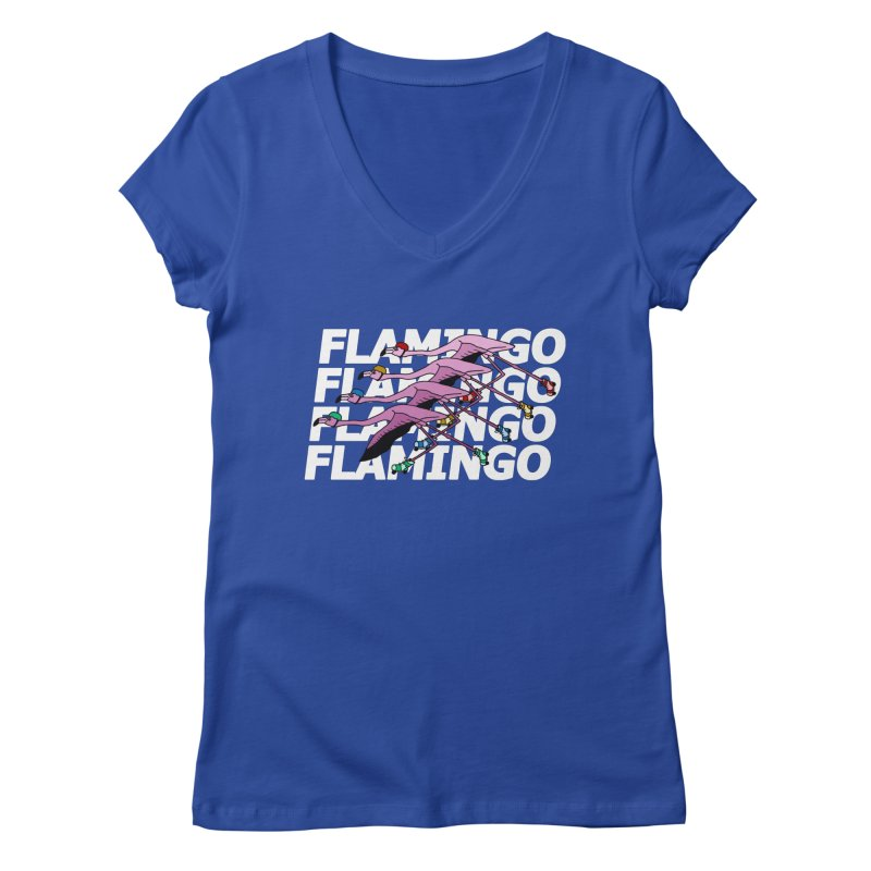 Flamingos - White Letters Women's Regular V-Neck by sand paper octopi's Artist Shop