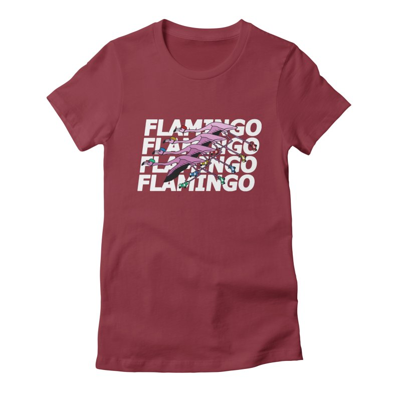 Flamingos - White Letters Women's Fitted T-Shirt by sand paper octopi's Artist Shop