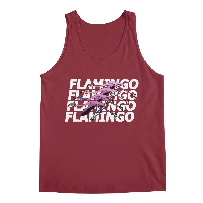 Flamingos - White Letters Men's Regular Tank by sand paper octopi's Artist Shop