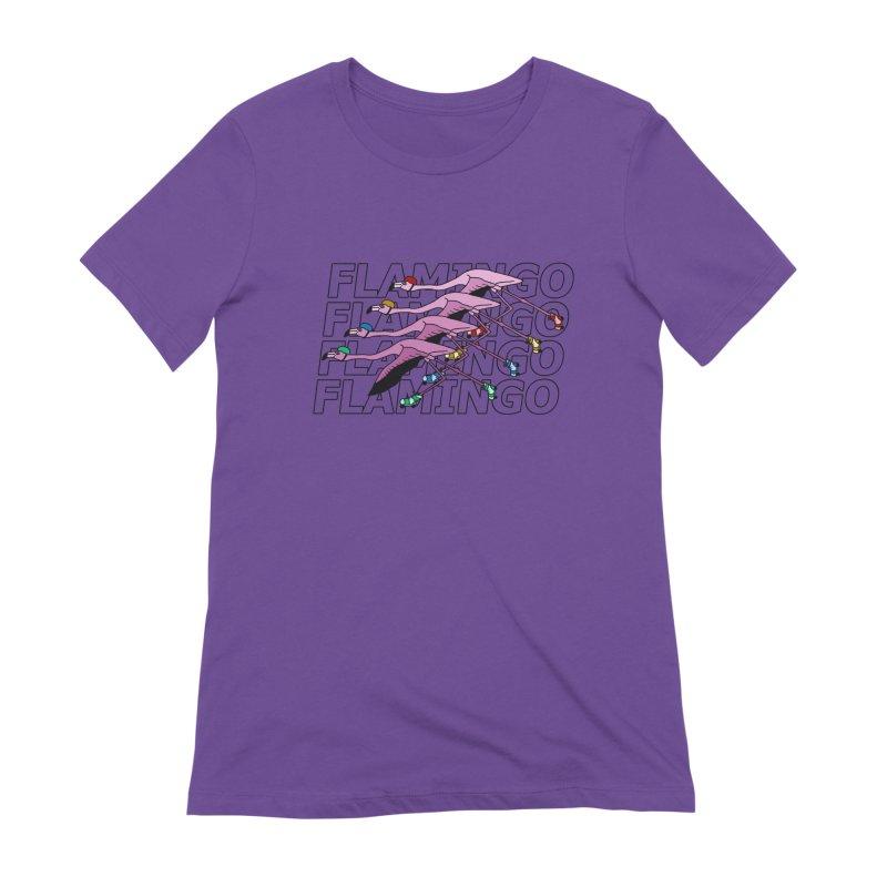 Flamingos - Transparent Letters Women's Extra Soft T-Shirt by sand paper octopi's Artist Shop