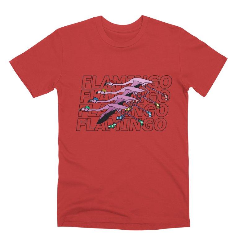 Flamingos - Transparent Letters Men's Premium T-Shirt by sand paper octopi's Artist Shop