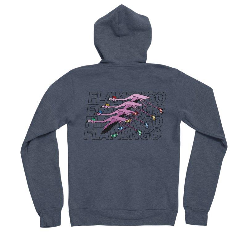 Flamingos - Transparent Letters Men's Sponge Fleece Zip-Up Hoody by sand paper octopi's Artist Shop