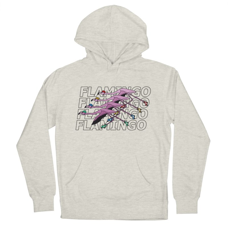 Flamingos - Transparent Letters Women's French Terry Pullover Hoody by sand paper octopi's Artist Shop