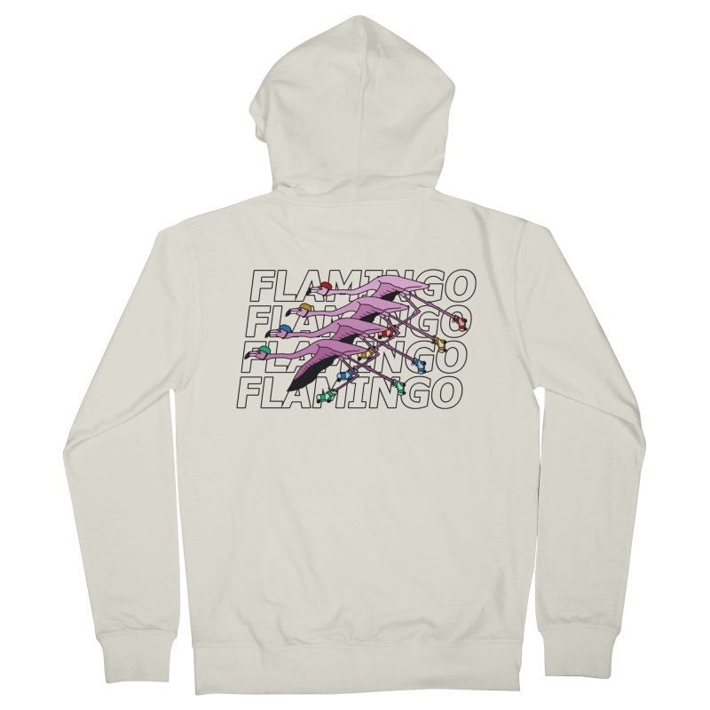 Flamingos - Transparent Letters Men's French Terry Zip-Up Hoody by sand paper octopi's Artist Shop