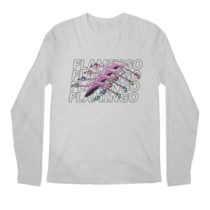 Flamingos - Transparent Letters Men's Regular Longsleeve T-Shirt by sand paper octopi's Artist Shop