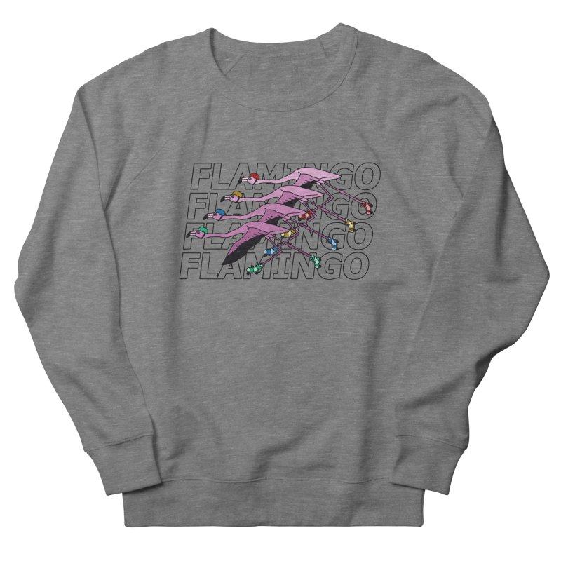 Flamingos - Transparent Letters Men's French Terry Sweatshirt by sand paper octopi's Artist Shop