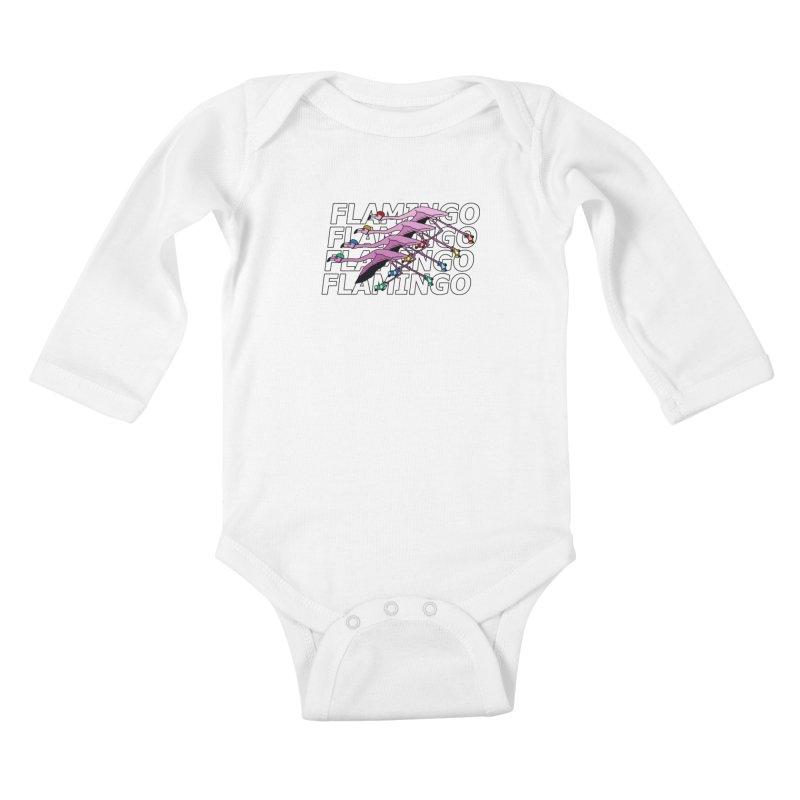 Flamingos - Transparent Letters Kids Baby Longsleeve Bodysuit by sand paper octopi's Artist Shop