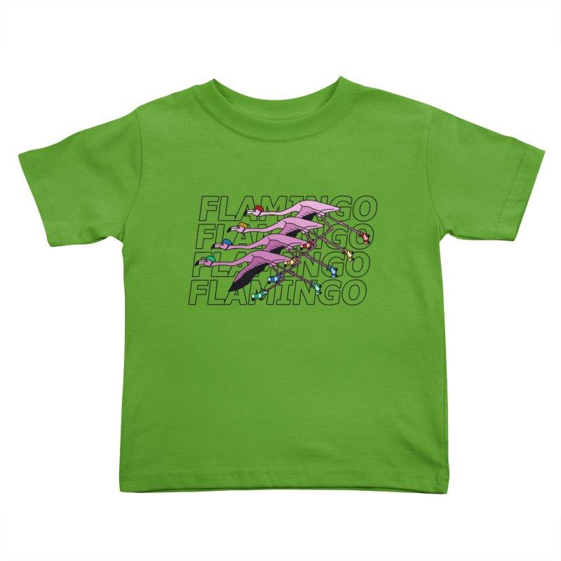 Flamingos - Transparent Letters Kids Toddler T-Shirt by sand paper octopi's Artist Shop