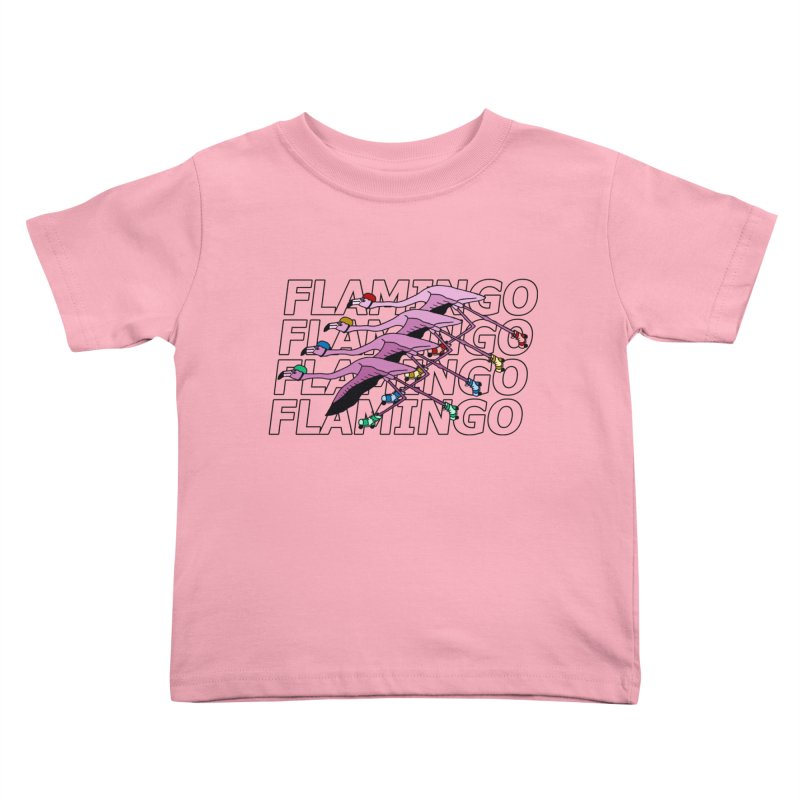 Flamingos - Transparent Letters Kids Toddler T-Shirt by sand paper octopi's Artist Shop