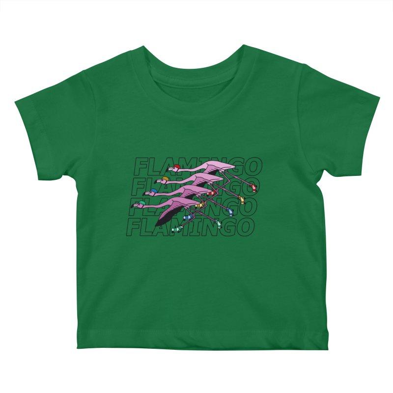 Flamingos - Transparent Letters Kids Baby T-Shirt by sand paper octopi's Artist Shop