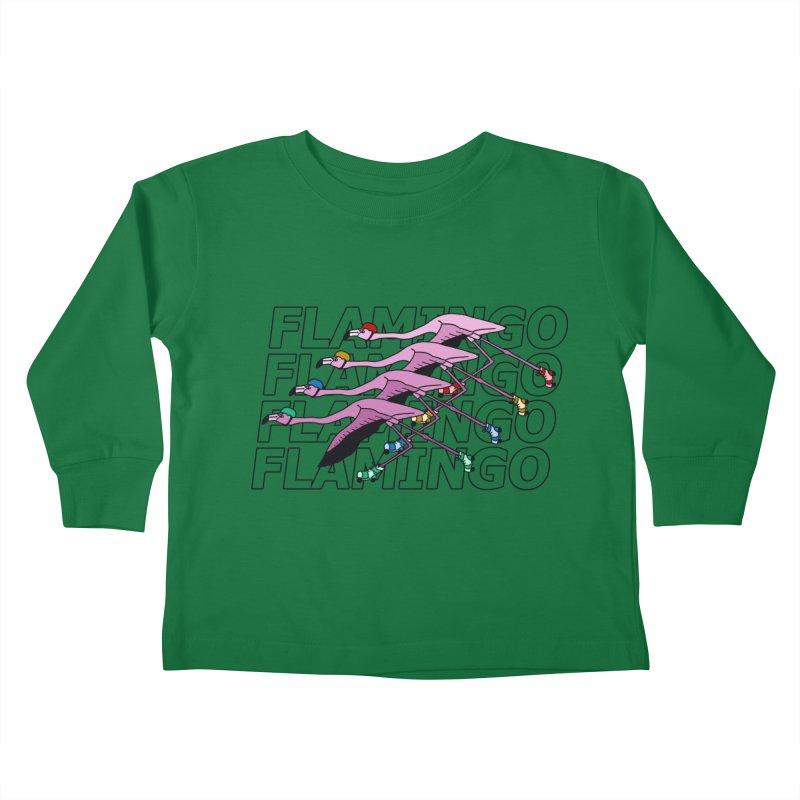 Flamingos - Transparent Letters Kids Toddler Longsleeve T-Shirt by sand paper octopi's Artist Shop