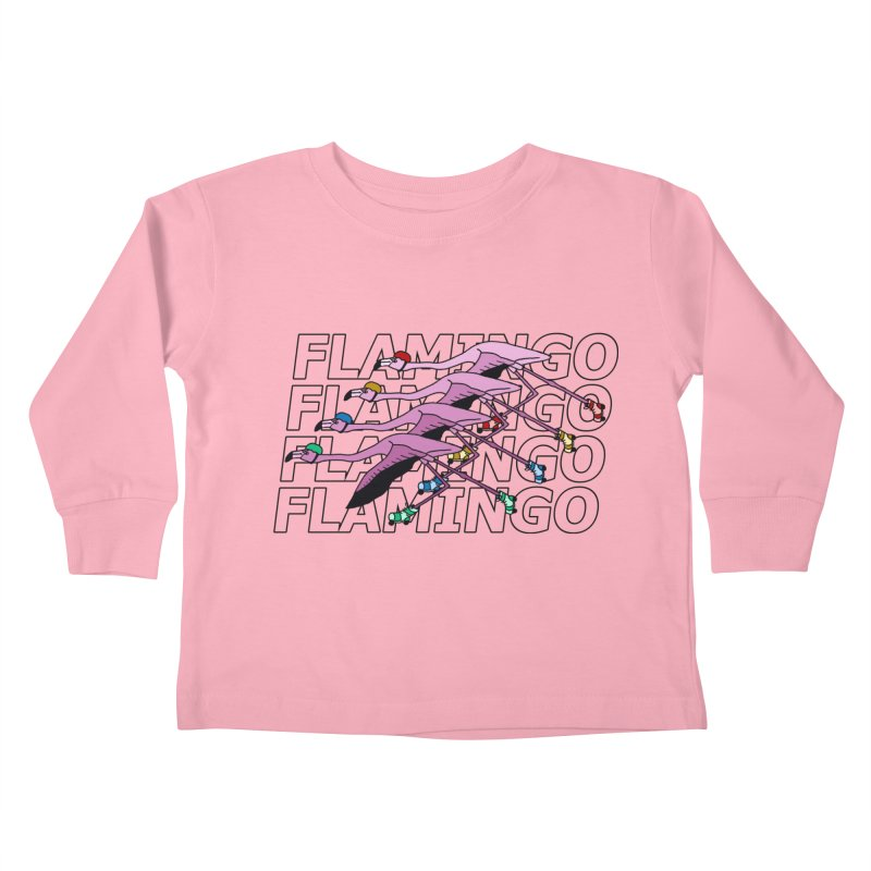 Flamingos - Transparent Letters Kids Toddler Longsleeve T-Shirt by sand paper octopi's Artist Shop