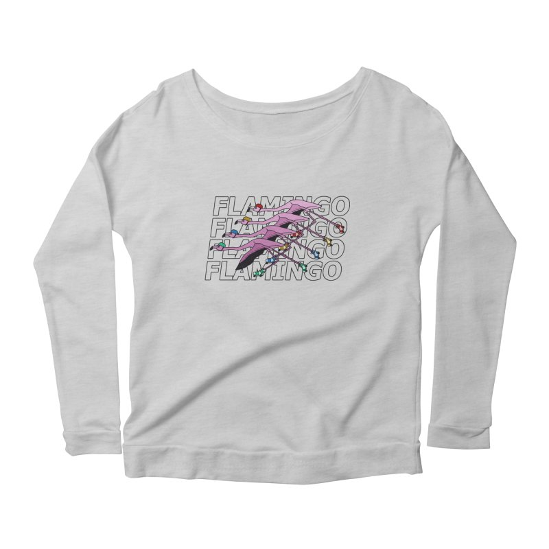 Flamingos - Transparent Letters Women's Scoop Neck Longsleeve T-Shirt by sand paper octopi's Artist Shop