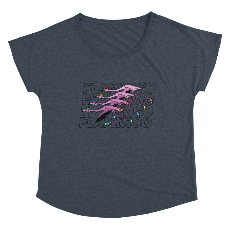 Flamingos - Transparent Letters Women's Dolman Scoop Neck by sand paper octopi's Artist Shop