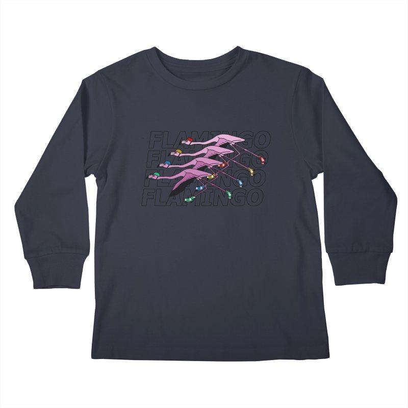 Flamingos - Transparent Letters Kids Longsleeve T-Shirt by sand paper octopi's Artist Shop