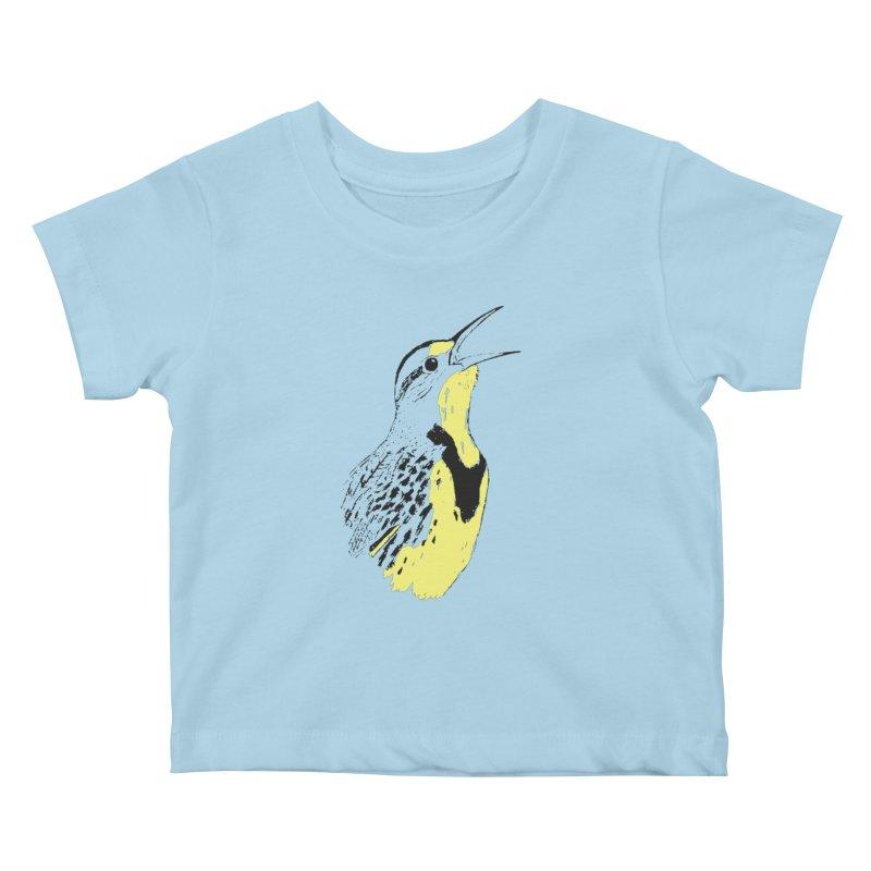 Western Meadowlark Kids Baby T-Shirt by sand paper octopi's Artist Shop
