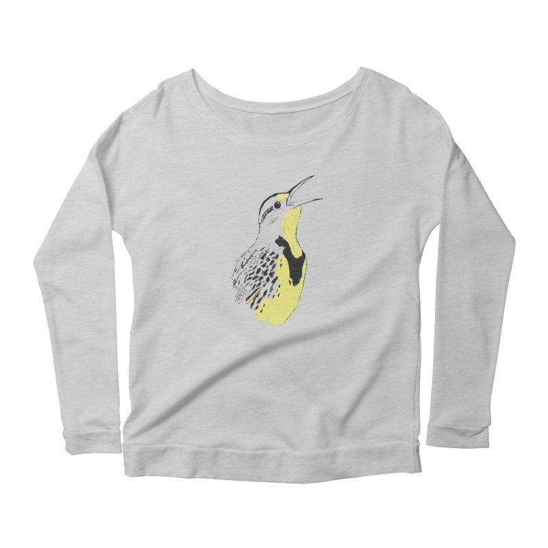 Western Meadowlark Women's Scoop Neck Longsleeve T-Shirt by sand paper octopi's Artist Shop