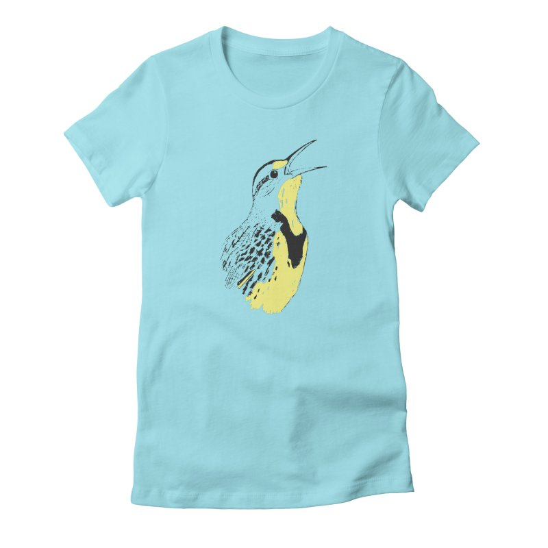 Western Meadowlark Women's Fitted T-Shirt by sand paper octopi's Artist Shop