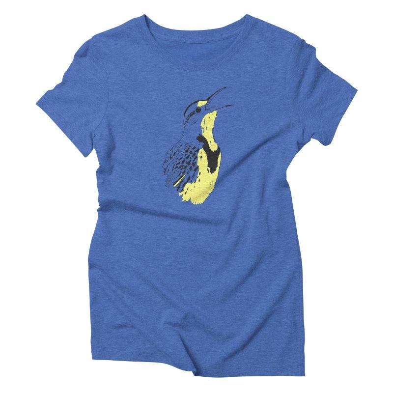 Western Meadowlark Women's Triblend T-Shirt by sand paper octopi's Artist Shop