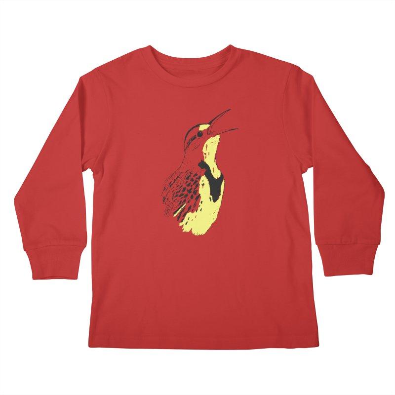 Western Meadowlark Kids Longsleeve T-Shirt by sand paper octopi's Artist Shop