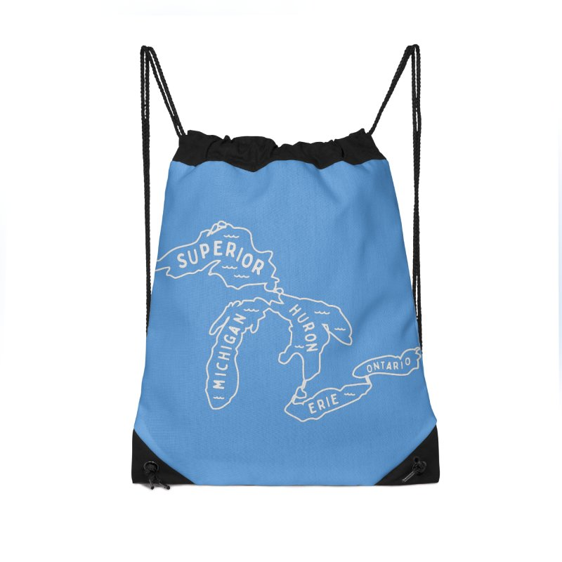 The Great Lakes Accessories Drawstring Bag Bag by Shop Sandusky Ink & Cloth
