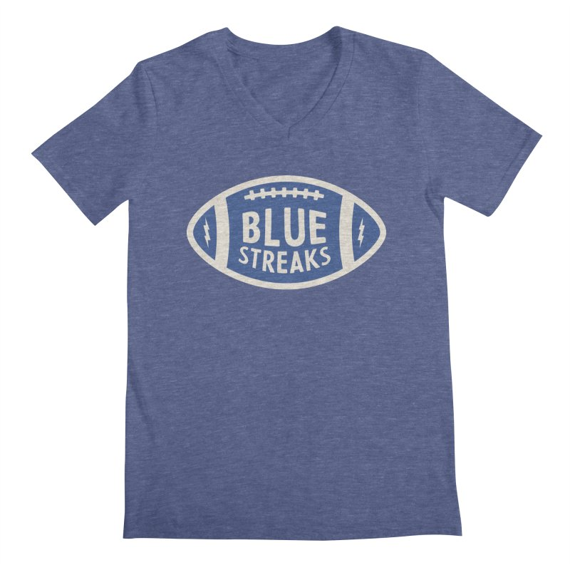 Blue Streaks Football Men's Regular V-Neck by Shop Sandusky Ink & Cloth