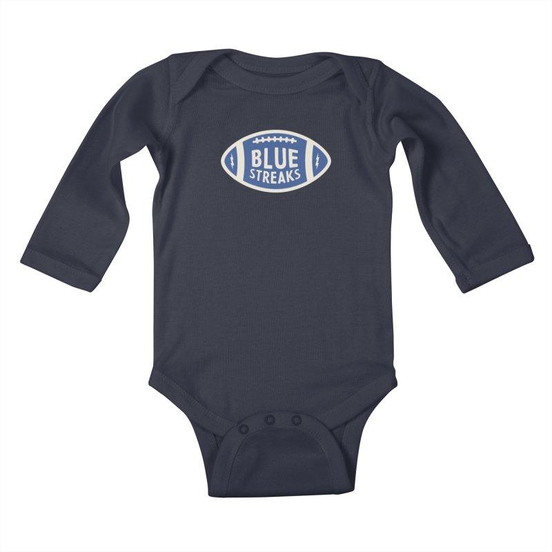 Blue Streaks Football Kids Baby Longsleeve Bodysuit by Shop Sandusky Ink & Cloth