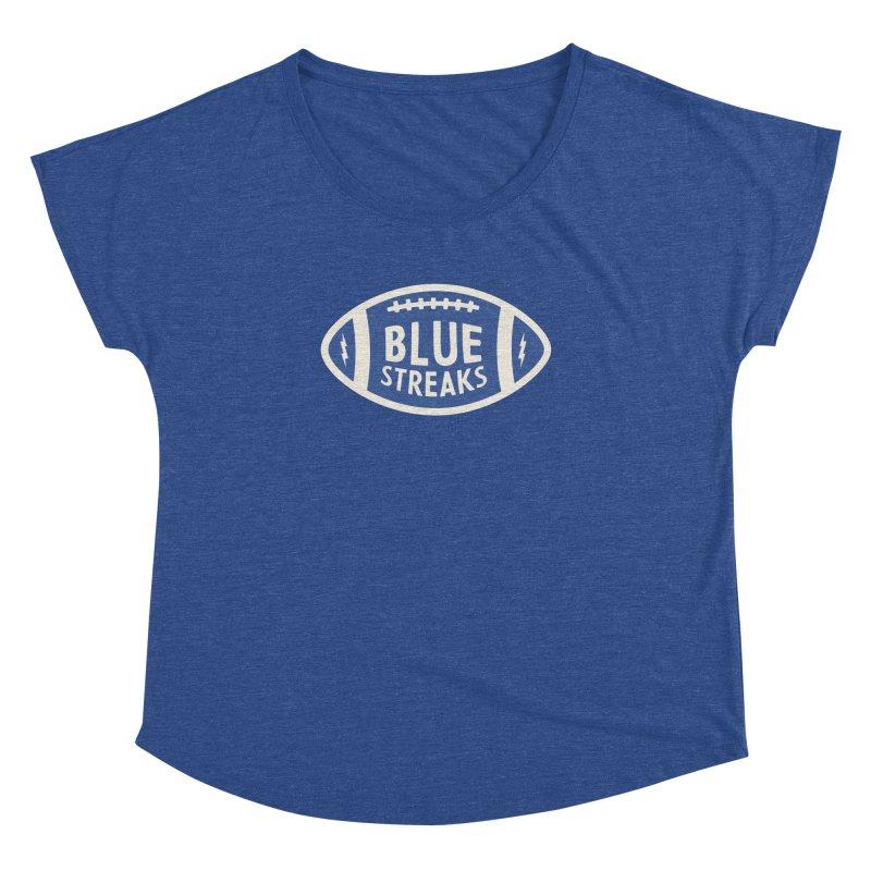 Blue Streaks Football Women's Dolman Scoop Neck by Shop Sandusky Ink & Cloth
