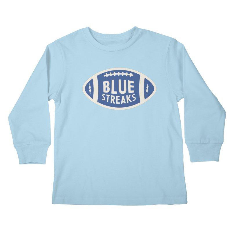 Blue Streaks Football Kids Longsleeve T-Shirt by Shop Sandusky Ink & Cloth