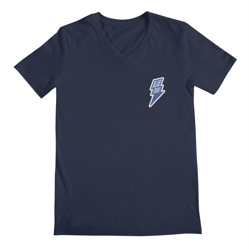 Blue Streaks Lightning Bolt Men's V-Neck by Shop Sandusky Ink & Cloth