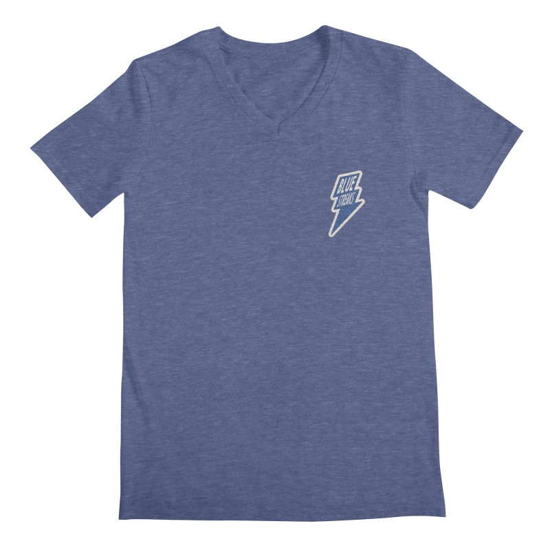 Blue Streaks Lightning Bolt Men's Regular V-Neck by Shop Sandusky Ink & Cloth