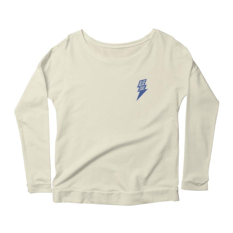 Blue Streaks Lightning Bolt Women's Scoop Neck Longsleeve T-Shirt by Shop Sandusky Ink & Cloth