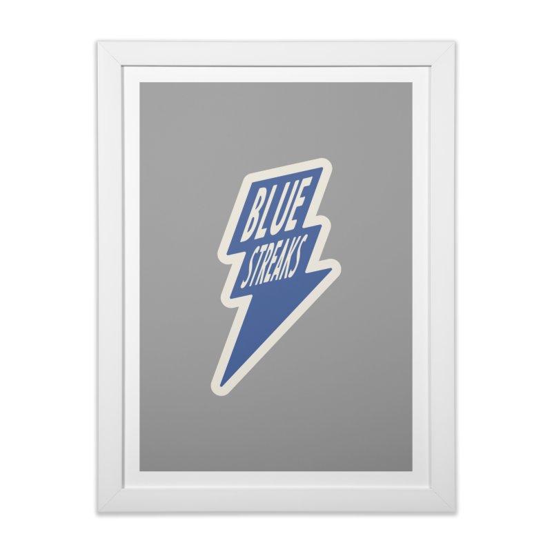 Blue Streaks Lightning Bolt Home Framed Fine Art Print by Shop Sandusky Ink & Cloth