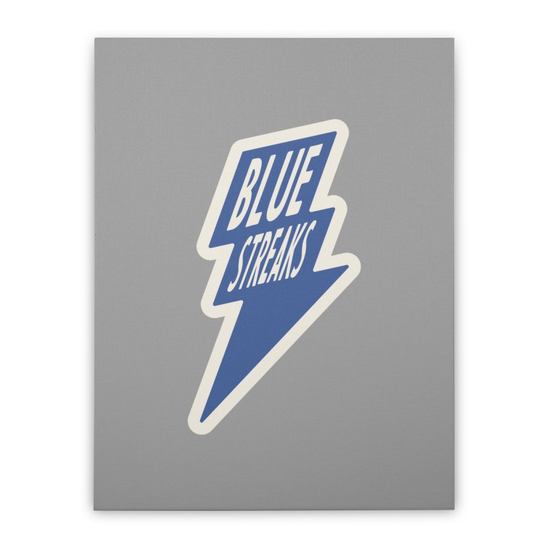 Blue Streaks Lightning Bolt Home Stretched Canvas by Shop Sandusky Ink & Cloth