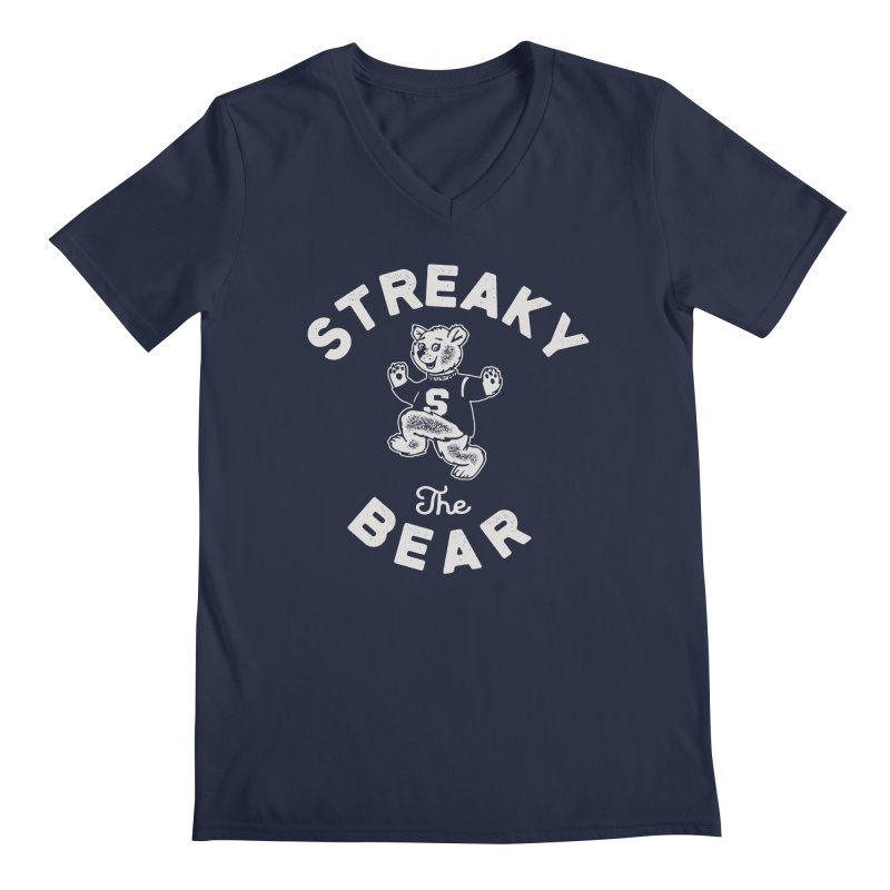 Streaky (the) Bear Men's Regular V-Neck by Shop Sandusky Ink & Cloth