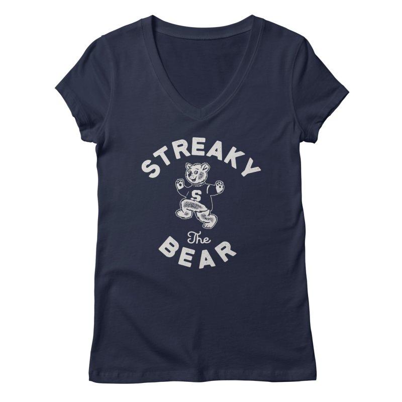 Streaky (the) Bear Women's Regular V-Neck by Shop Sandusky Ink & Cloth