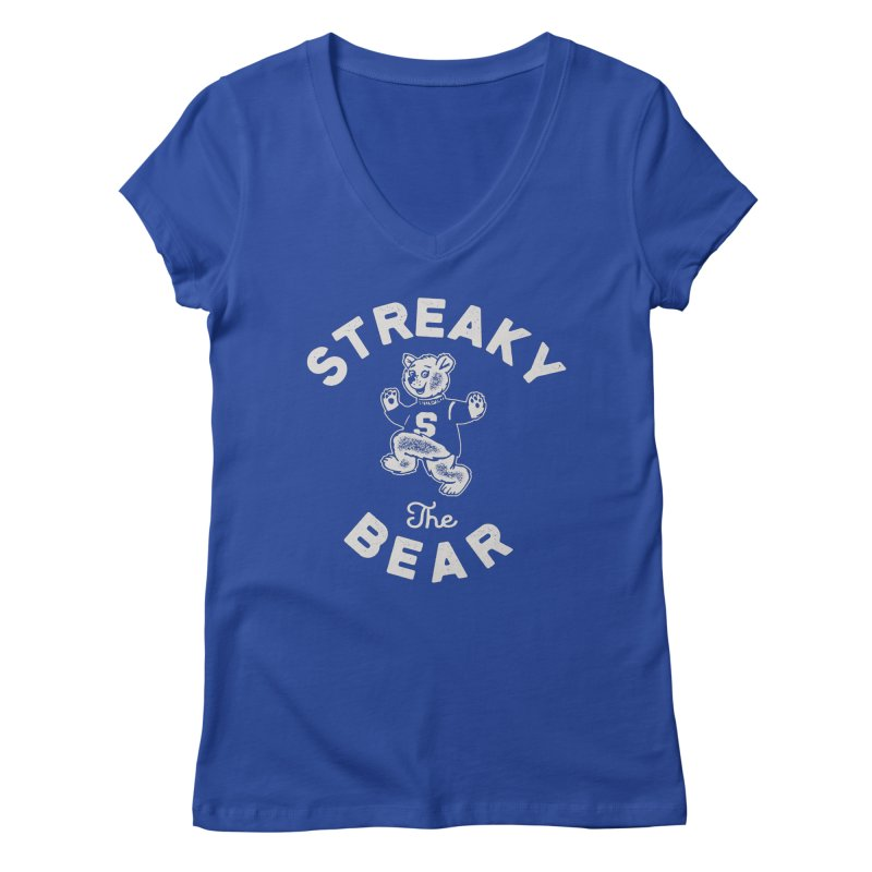 Streaky (the) Bear Women's Regular V-Neck by Shop Sandusky Ink & Cloth