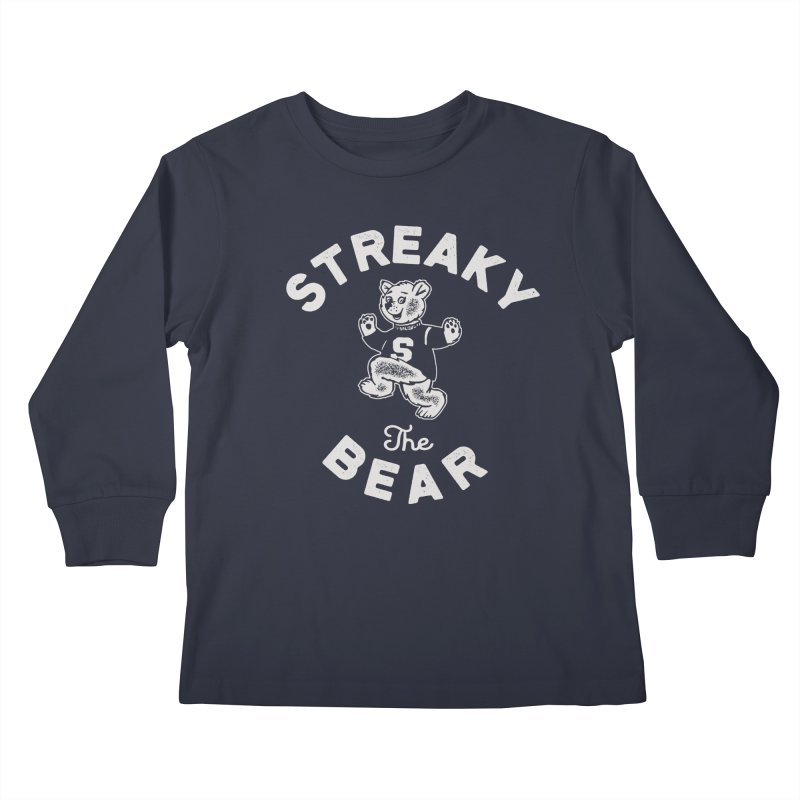 Streaky (the) Bear Kids Longsleeve T-Shirt by Shop Sandusky Ink & Cloth