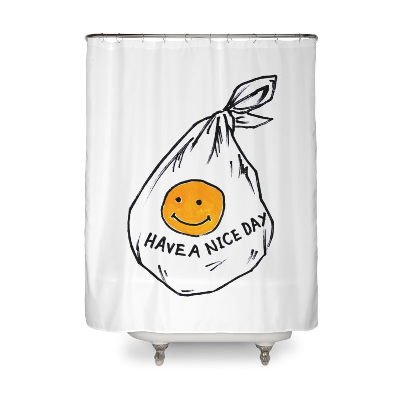 smily bag Home Shower Curtain by sanpo's Artist Shop