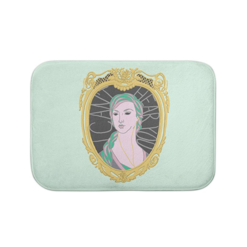Lady Who Can't Hear You Home Bath Mat by Saraemor