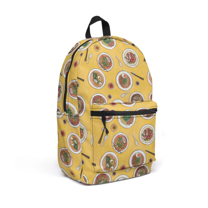 Yellow Ramen Bowls Accessories Backpack Bag by Sarah Becan