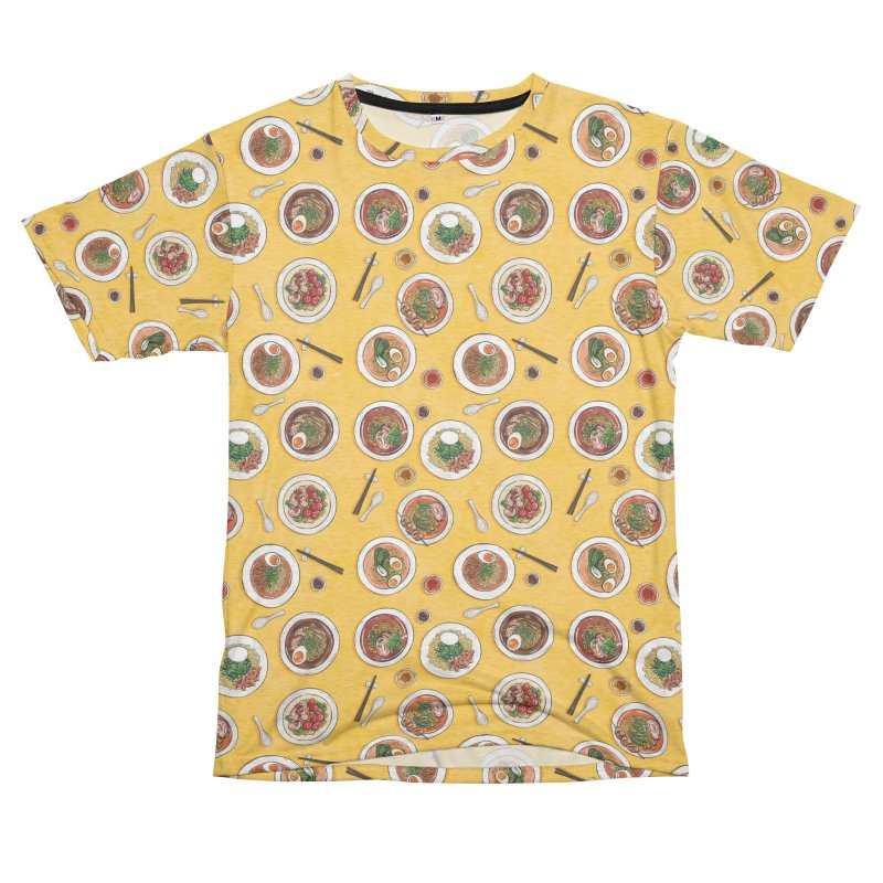 Yellow Ramen Bowls Women's Unisex French Terry T-Shirt Cut & Sew by Sarah Becan