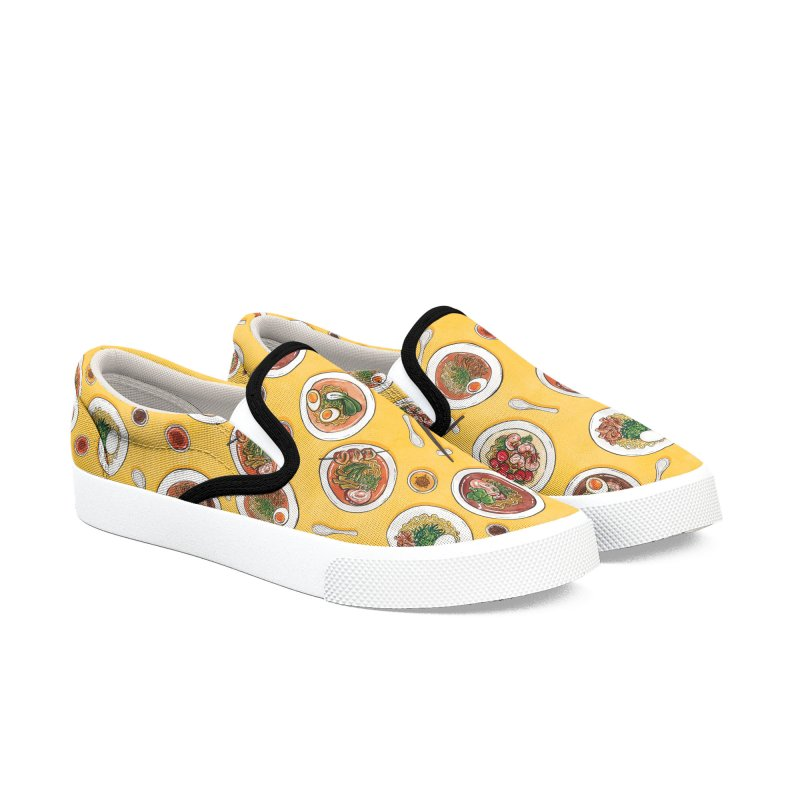 Yellow Ramen Bowls Women's Slip-On Shoes by Sarah Becan