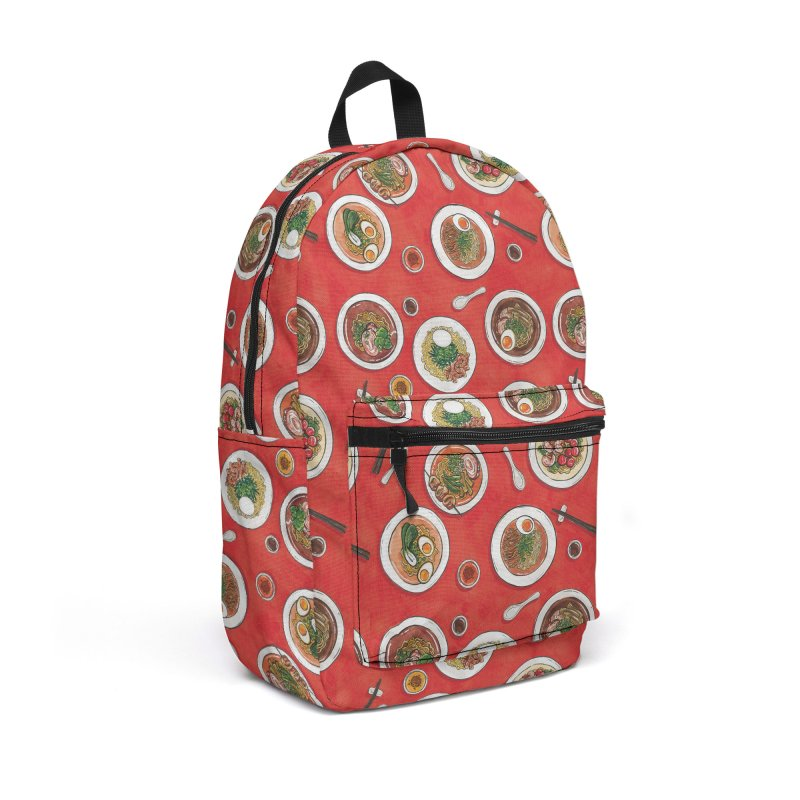 Red Ramen Bowls Accessories Backpack Bag by Sarah Becan