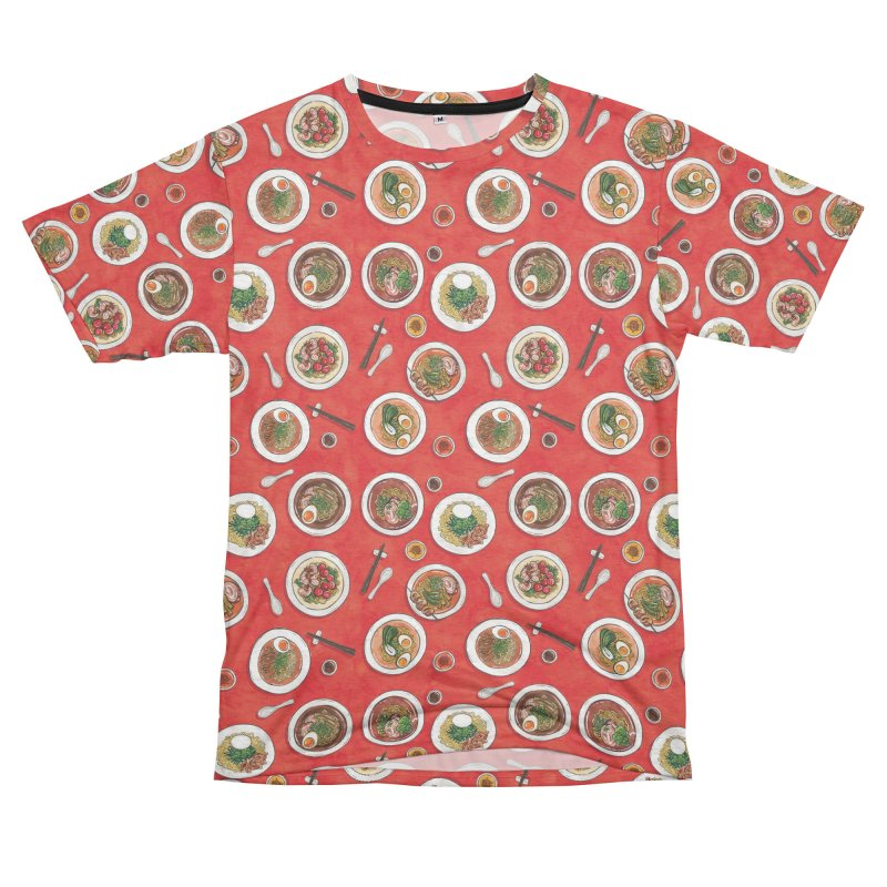 Red Ramen Bowls Women's Unisex French Terry T-Shirt Cut & Sew by Sarah Becan